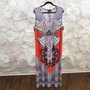 New Direction BRN/ORG/BLU EMBELLISHED MAXI DRESS